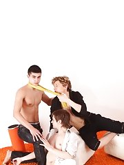 What a kinky sex game for 3 sexy college lads and this lucky lad receives all the pleasure having his butt aperture warmed up with rubber-covered fing