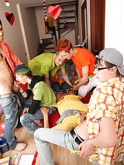 Teen jerking gay men group and gay group masturbation video at Crazy Party Boys