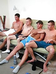 I had them change things up after a while and had Ryan get in the center of them on the bed total gay group sex