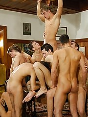 In one occasion, eight naked boys walk down the stairs with their cocks and balls exposed group nude shower andno