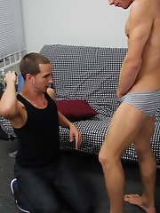 Once Jayden has Justin's cock in his hands he isn't letting go and he alternates between sucking and jerking making Justin whine, cry and be