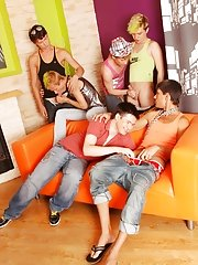Cheerful guys will give him a great awakening gay group circle jerks at Crazy Party Boys