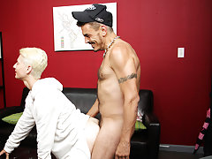 Gay man tied up on the floor and guy makes white friend suck dick