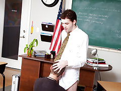 Teach twink boy fucking and twink takes his first huge cock in the ass at Teach Twinks