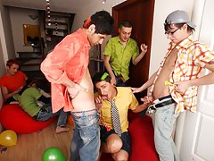 Men group sex and hot gay guy group sex at Crazy Party Boys