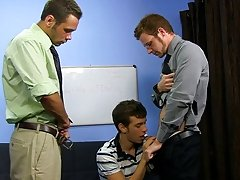 Brian Bonds and Marc Peron need a fresh PA in the office and Ryan Sharp is assured he's the one for the job bicurios male masturbatio at My Gay B