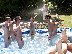 I mean its not embarrassing enough playing naked in a nasty fake pool male masterbation groups