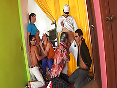 Male group masturbating and divorced gay males group at Crazy Party Boys