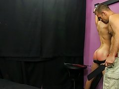 Austin has his smooth Latin butt paddled until it turns bright pink in advance of that guy receives down on his knees to suck Tucker's cock humil