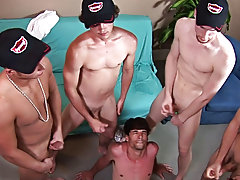 As they stood around Darren, the boys focused on the straight porn, wanking off at a hard and fast rate gays in group porno