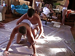 The capa studs are preparing for their toga party by having their pledges tidy up the frat palace and wrestle for invitations to the soiree of the yea