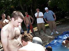 I mean its not embarrassing sufficiently playing naked in a nasty fake pool gay army group sex