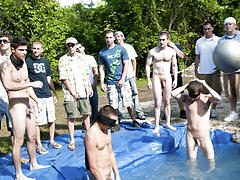 I mean its not embarrassing enough playing naked in a nasty fake pool gay group handjobs
