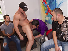 Male group masterbation and gay group sex at Sausage Party