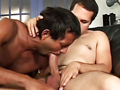 """These three studs really enjoy sucking and playing around with each other in this week's episode of """"His First Huge Cock gay fireman hunks"""