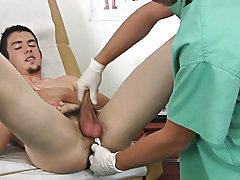 I continued the exam as his penis was throbbing truly hard and to my surprise, David started to spurt cum without his vertical wang and the stream of