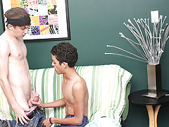 Tongue kissing naked hot guy in room and black guys armpit hair at Boy Crush!