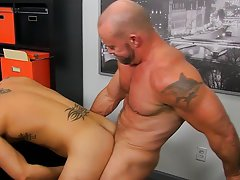 Hot gay kissing muscle and hot man with his hard dick in wet underwear at My Gay Boss