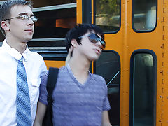 Caught smoking by the bus, Kyler Moss is on the receiving end of Patrick Kennedy's yardstick first time teen gay sex