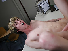Teen twink bounces on big dick and twink sniffs friend underwear at Teach Twinks