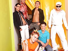 Male group nudity and group gay blowjob at Crazy Party Boys