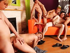 Gay group porno and online gay foot toe fisting groups at Crazy Party Boys
