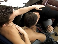 The men taste each other's meat before Tristan takes control and bends Shane over the desk to fuck him gay bears with huge cocks at My Gay Boss