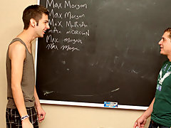 After sucking every others dicks, Max Martin braces himself against the wall so Max Morgan can impale him with his cock gay blond twinks cum at Teach