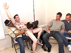 Naked men fucking in group and male group masturbating at Sausage Party