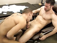 The desk squeaks along with Shane's moans as Tristan drills his butt with his thick dick