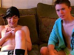 Gay kissing piss and balls peeking out of his shorts - at Boy Feast!