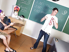 Caleb leans against the teacher's desk and lets Ashton engulf on his throbbing dick gay teen first time at Teach Twinks