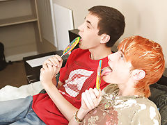 When Preston copulates him missionary, Conner ends up cumming and once Preston pulls out and shoots on the lollipop, the two take up with the tongue i