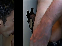 Handsome male in blowjob in and gay cum blowjob in suit