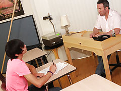 The youthful twink receives down on his knees to service Brock before the buff teacher throws him onto the desks to fuck him on his back oregon hardco