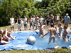 I mean its not embarrassing enough playing naked in a nasty fake pool total gay group sex