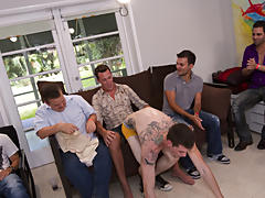 Group pissing guys and gay group sex 6 guys at Sausage Party