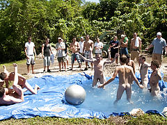 these poor pledges had to play blind folded in this hole in the ground filled with water amature gay group sex