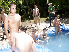 There is nothing like a nice summer time splash, especially when the pool is man made and ghetto rigged as fuck gay group porno