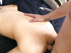 Smooth sexy twink and black twink gay cumshots