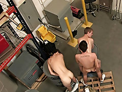 Two guys were messing around at work when their offspring boss caught them gay group blowjob