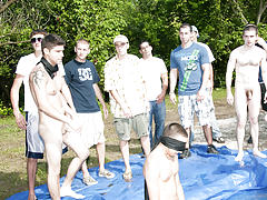 these poor pledges had to play blind folded in this hole in the ground filled with water mature gay group sex