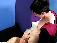 Noah Carlisle has a fistful of Timo Garrett's hair as the white-haired boy sucks his dick gay twink buttholes