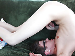 Blonde twink with thick black pubes and free amateur male cumshot pictures at Boy Crush!