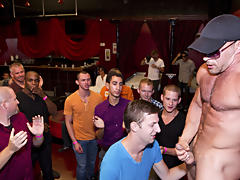 Multiple men group sex and gay group blow job at Sausage Party