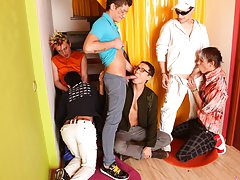 Total gay group sex and gay group sex video trailer at Crazy Party Boys