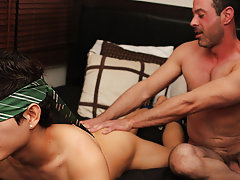 After riding Giovanni hard, Mike Manchester pulls out and cums all over the boy's face gay men hardcore at Bang Me Sugar Daddy