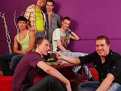 Male tickling groups and gay fetish group sex at Crazy Party Boys