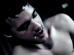 Krys slinks between Brice's legs, minding his fangs while sucking his dick his first gay sex ful - Gay Twinks Vampires Saga!