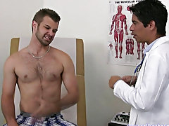 I had him stand and I stroked his cock and he was stroking his cock and then he jumped turn tail from onto the exam table and stroked himself off thin